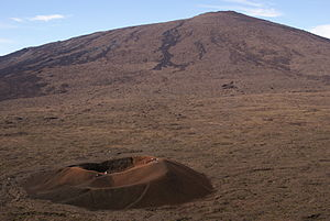 Parasitic cone - Parasitic cone (in foreground) with larger main cone in background, at Piton de la Fournaise volcano on the island of Réunion.