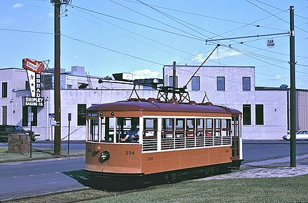 The Fort Smith Trolley Museum offers trolley rides year-round. Fort Smith Birney car 224 at 6th & Garland (1997).jpg
