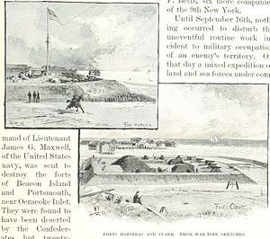 Battle of Hatteras Inlet Batteries - Fort Hatteras (top) and Fort Clark, from wartime sketches