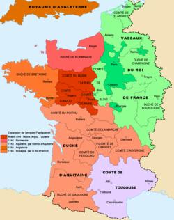 Carte qui montre qu'Henri II et sa femme possédait la moitié ouest et le centre de la France. Montre également le peu d'étendue du domaine royal français.