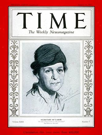 Frances Perkins - Secretary of Labor Perkins on the cover of Time (August 14, 1933)