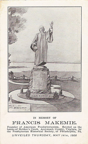 Francis Makemie - Statue of Makemie on the banks of Holden's Creek in Accomack County, Virginia