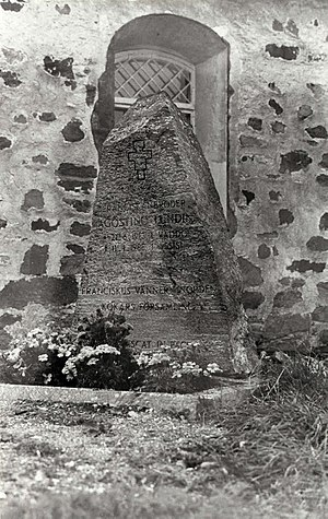 Kökar - The grave of a Franciscan monk on the side of the church of St. Anne