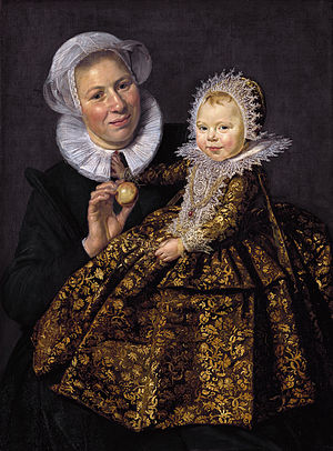 Catharina Hooft - Catharina as a child, by Frans Hals. In her hand she holds a silver rattle with bells, a status symbol.
