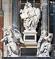 Frari (Venice) nave left - Monument to Doge Giovanni Pesaro - Religion and Value, below Intelligence and Nobility by Josse de Corte.jpg
