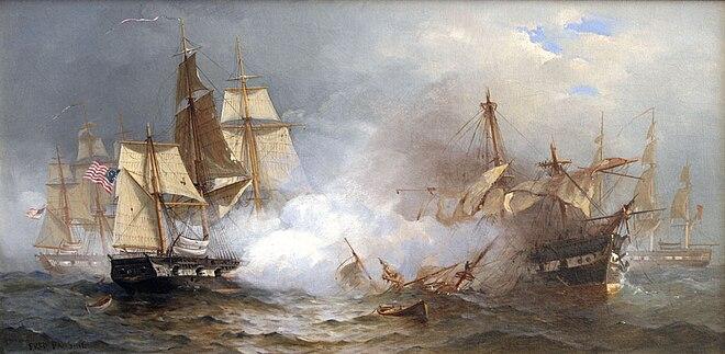 米海軍の最初の6隻のフリゲート艦の最初のUSSアメリカ合衆国は、戦いでHMSマケドニア人を倒し、1812年の戦争中に彼女を賞品とする前に見られました。