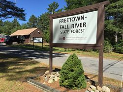 Freetown-Fall River State Forest entry sign.jpg
