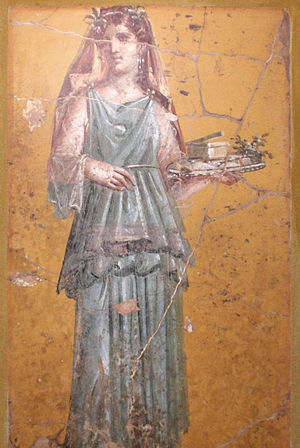 English: Fresco of woman with tray in Villa Sa...