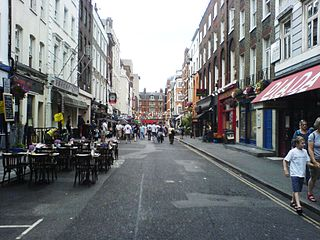 Frith Street street in the Soho area of London, England