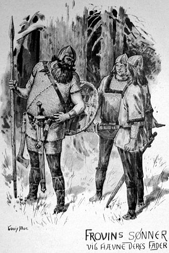 Ket and Wig - Ket and Wig talk with their father's slayer, illustration by Louis Moe