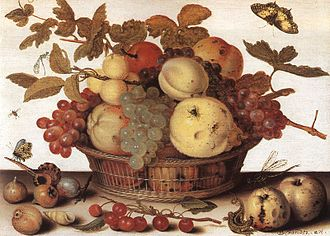 First Fruits - Fruit Basket (painting by Balthasar van der Ast).