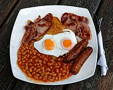 Full English breakfast at the Chalet Cafe, Cowfold, West Sussex, England.jpg