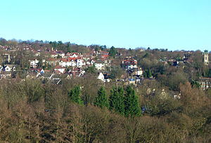 Fulwood, Sheffield - Fulwood stands on the south facing slopes of the Porter valley, the parish church is far right.