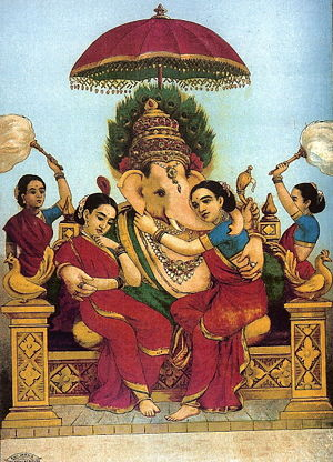 "Consorts of Ganesha - Ganesha with consorts Riddhi and Siddhi, Painting titled ""Riddhi Siddhi"" by Raja Ravi Varma (1848–1906)"