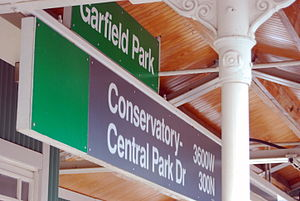 Conservatory–Central Park Drive station - Garfield Park Conservatory sign with interior details