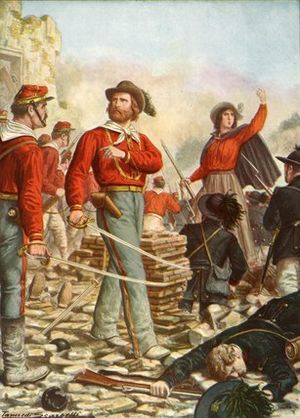 Blouse - Giuseppe Garibaldi (center), the Italian patriot and his wife, Anita (right), popularized the red, Garibaldi shirt, a type of military blouse, which became popular, as early 1860s, civilian fashion, with men and women, both, in Europe and the North America.