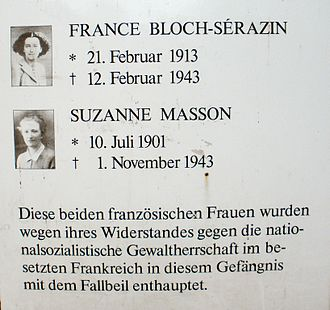 France Bloch-Sérazin - Commemorative plaque at the backside of Untersuchungshaftanstalt Hamburg