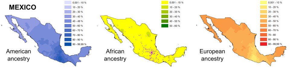 Geographic ancestry distribution of Mexico