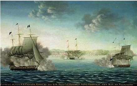 The Battle of Valparaiso ended the American naval threat to British interests in the south Pacific Ocean George-ropes-battle-of-valparaiso.png