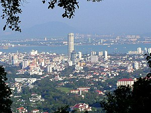 British Malaya - George Town, capital of Penang. Across the North Channel seen is Butterworth, on the mainland known as Seberang Perai, formerly Province Wellesley.