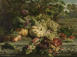 Gerardina Jacoba van de Sande Bakhuyzen - Image: Gerardine van de Sande Bakhuyzen, stilleven met bloemen en vruchten (1869)
