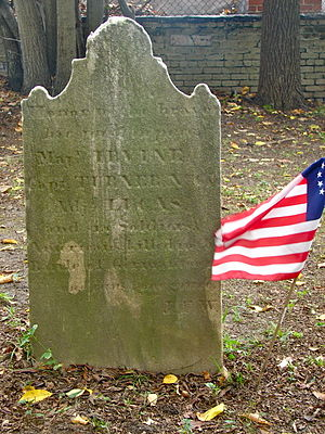 Concord School House (Philadelphia) - Marker in the Upper Burial Ground, just a few feet north of the school,  on the presumed site of the mass grave of 58 American soldiers killed in the Battle of Germantown