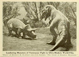 The Ghost of Slumber Mountain - Photograph depicting the fight between the Triceratops and Tyrannosaurus in the film (1919)