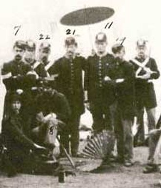"""James Gillett - Private Gillett (marked by """"11"""") while serving in the Eureka Guards in Santa Cruz in August 1885."""