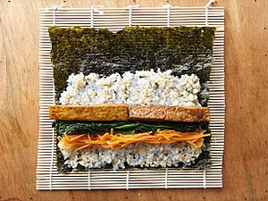 Gimbap - arranging the ingredients