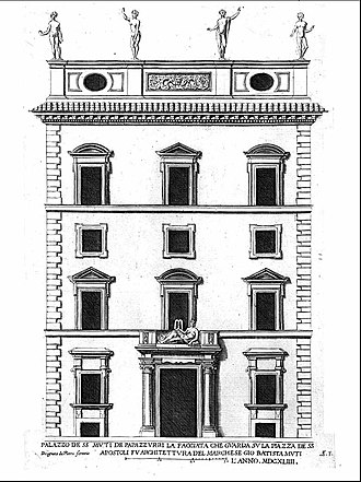 Palazzo Muti - The Palazzo Muti in the 18th century. Today, uppermost floor is altered and the statuary removed.