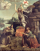 Giovanni Antonio Boltraffio and Marco d'Oggiono - The Resurrection of Christ with SS. Leonard of Noblac and Lucia - Google Art Project.jpg