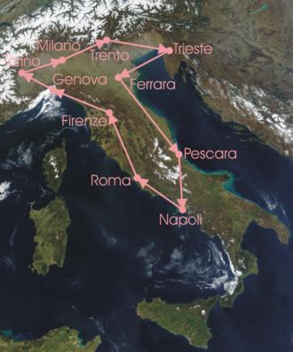 1919 Giro d'Italia - Race Route