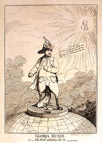 Gloria Mundi, or The Devil addressing the sun, a cartoon showing the British politician Charles James Fox standing on a roulette wheel perched atop a globe showing England and continental Europe. The implication is that his penniless state, indicated by turned-out pockets, is due to gambling. Gloria Mundi, or The Devil addressing the sun - Pare. Lost, Book IV LCCN2001695204.jpg
