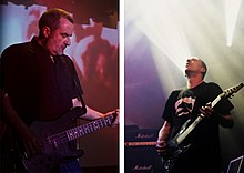 Two images composited together. The first is of G. C. Green playing bass with Godflesh, and the second is of Justin Broadrick playing guitar with Godflesh.