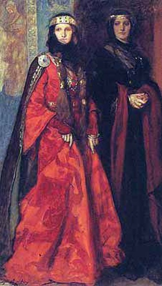 Père Goriot - Balzac was accused of plagiarizing William Shakespeare's play King Lear, given the similarity of Goriot's daughters Anastasie and Delphine to Lear's children Goneril and Regan (depicted here in a 1902 painting by Edwin Austin Abbey).