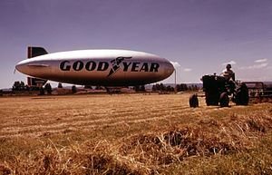 Pearson Field - The Goodyear blimp Columbia at Pearson Field in June 1973.