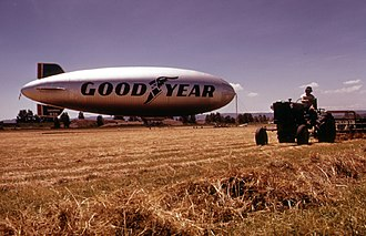 Pearson Field - The Goodyear blimp Columbia moored at Pearson Field, June 1973.