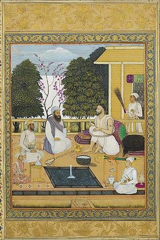Abul Hasan Qutb Shah - Visit of Sufi-singer Shir Muhammad to Abul Hasan Qutb Shah, ca. 1720, Bibliothèque Nationale de France, Paris.