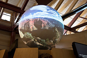 Science On a Sphere - The Canyon World in the Science On a Sphere Theater at Grand Canyon Visitor Center.