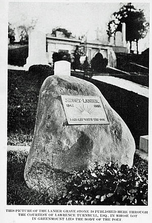 Sidney Lanier - Memorial stone for Lanier.