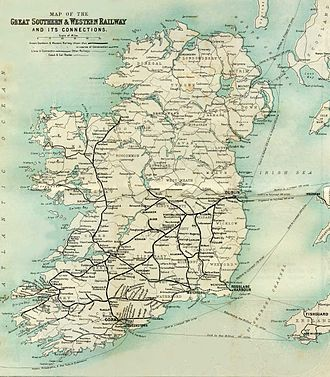 Great Southern and Western Railway - GSWR Ireland route map, circa 1902
