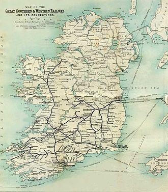 Kilsheelan - GSWR Ireland route map(Thick Black Lines) showing Kilsheelan station, circa 1902