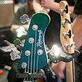 Green sparkle headstock (Regenerate Regenerator series 5.2 J style 5 string) - 2014 NAMM Show.jpg