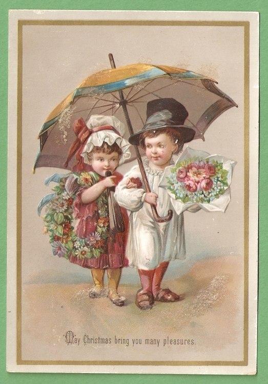 Greeting card Christmas Victorian 1885