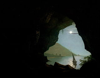 <i>Grotto in the Gulf of Salerno</i> Painting by Joseph Wright of Derby