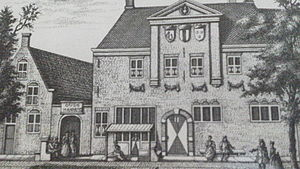 Vermeer Centre - 1730s engraving of the original Delft Guild house