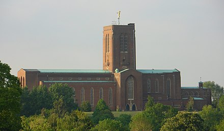 Guildford Cathedral, designed by Edward Maufe. Guildford Cathedral, Stag Hill, Guildford (Seen from Onslow Village) (May 2014) (1).JPG