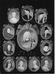 Gustav I - Fredrik I, Regentserie med 12 porträtt