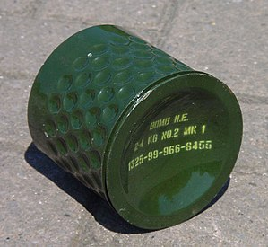 HB 876 mine - HB 876 bomblet casing  (Retardation and self-righting systems omitted)