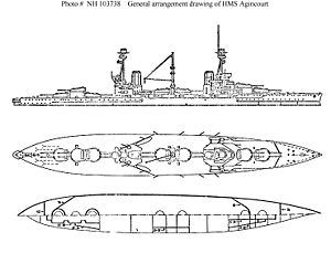 HMS Agincourt (1913) - Right elevation and plan view of Agincourt